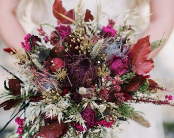 Rhoswen Bouquet, brides bouquet, rustic, country style, protea, herbs, grasses, dried flowers pink roses, red roses