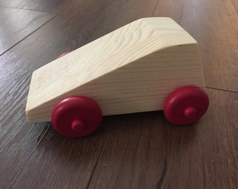 Geometric Shape Wooden Car with Red Wheels