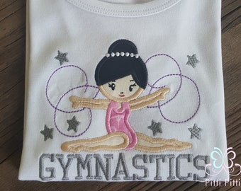 Personalized Girl Gymnast   Appliqued Short Sleeve Bodysuit or Shirt - Gymnastic  Onesie / Shirt -