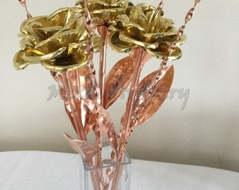 Metal rose, bouquet of 3 brass and copper rose