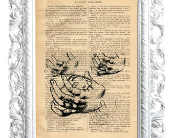 Hand phone # 3. Print on French publication of illustration. 28x19cm.