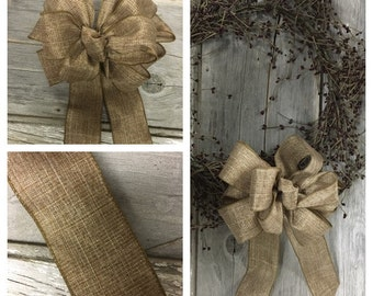 Wreath Bow, Decorative Bow, Large Gift Bow, Chair Bow, Pew Bow, Wired Ribbon Bow, Door Bow
