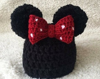 Minnie Mouse inspired crochet beanie