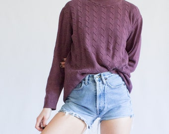 Long sleeve turtle neck sweater / Mock turtleneck / Purple cable knit / Vintage / Long sleeve sweater