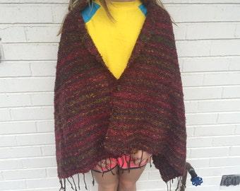 handwoven multicolored brown cotton and silk shawl