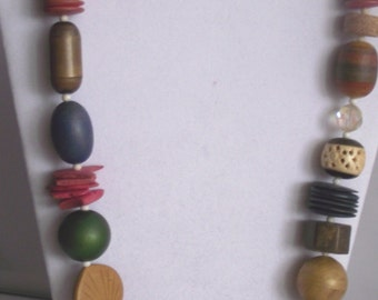 """Fun Chunky Wooden Beaded 26"""" Necklace"""