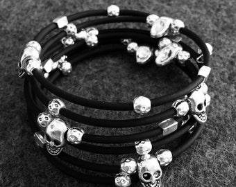Multi Wrap Memory Wire Black and Sterling Silver Skull Beaded Bracelet