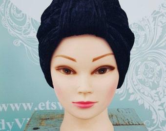 Handmade Vintage Retro Turban in Black Crushed Velvet