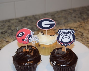 Cupcake toppers, party supplies, Georgia Bulldogs, football, sports