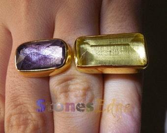 Amethyst and Lemon Quartz Ring (handmade) (SE-R-022).