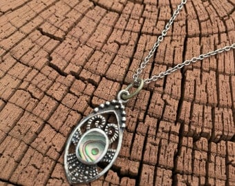 Necklace:  Sterling Silver with abalone shell