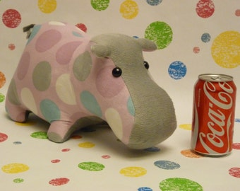 Happy Hippo; Stuffed Animal Hippo; Handmade and Costomizable