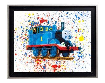 Watercolor Thomas the Train Art Print Matte Print Poster
