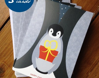 Cute penguin Christmas card pack of 5
