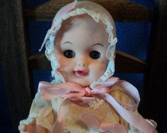 Baby doll vinyl in christening dress 8 inches all original