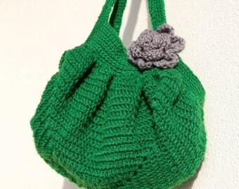 Crochet green shoulder bag