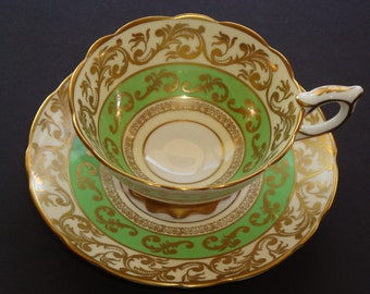 Royal Stafford England Green with Gold Cup and Saucer