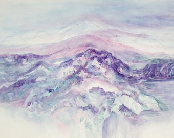 ORIGINAL painting, watercolor, signed, mountains, lake, nature, scenic, gift art, 18x24/mounted 22x28