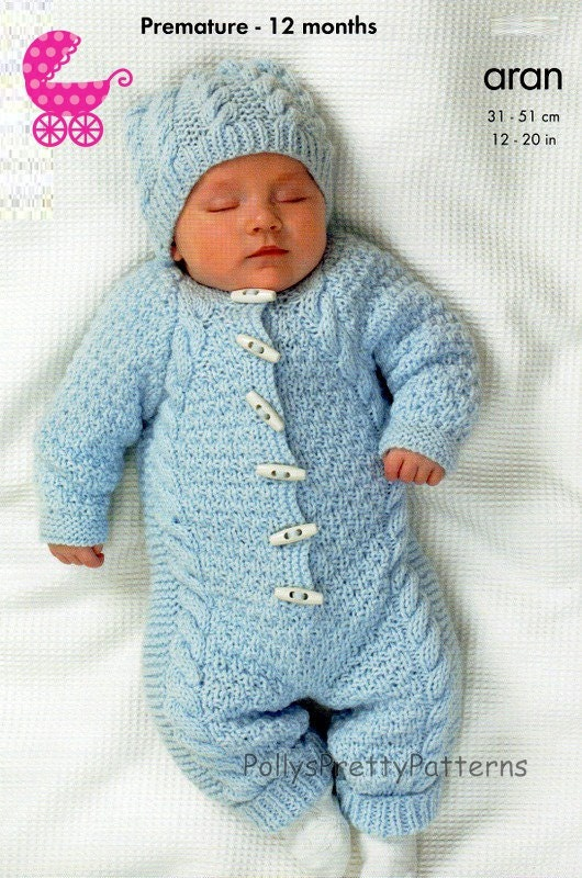 Aran Knitting Pattern With Hood : PDF Knitting Pattern for an Aran Knit Baby Onsie or Hooded