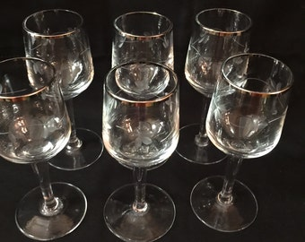 Vintage Brandy/Cordial Glasses With Silver Trim from the 1960's