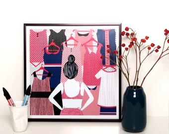 Illustration print framed - Morning ritual