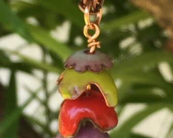 Enameled copper dangly tassel necklace