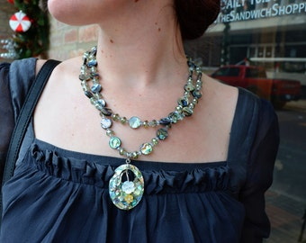 Abalone and Crystal Necklace set