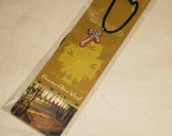 Holy Land olive wood cross pendant