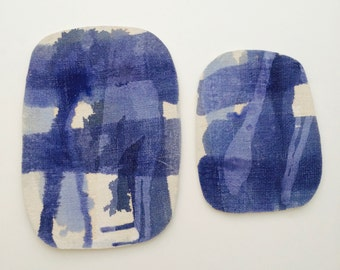 035. Cheese trays. Set of two blue ceramic trays. Blue splashes and linen imprint pattern. Artistic ceramics boards.