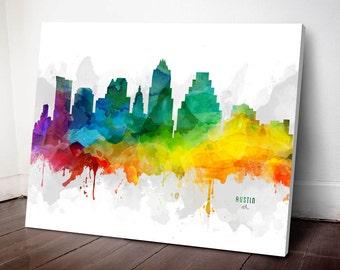Austin Skyline Canvas, Austin Print, Austin Art, Austin Gift, Austin Cityscape, MMR-USTXAU05C