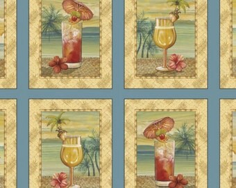 """Quilting Treasures - Paradise Delights Picture Patches 24"""" Panel Dusty Blue"""