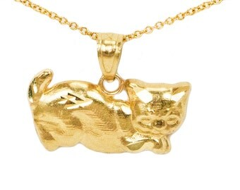 10k Yellow Gold Cat Necklace
