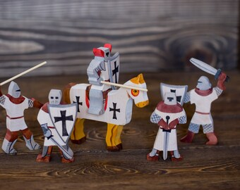 Wooden toy cavalier - Waldorf wood knights set of 5
