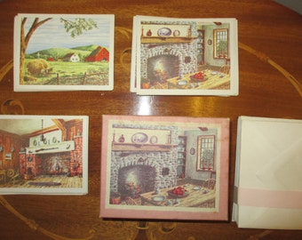 Box of vintage greeting cards; 24 cards, envelopes, occasion stickers