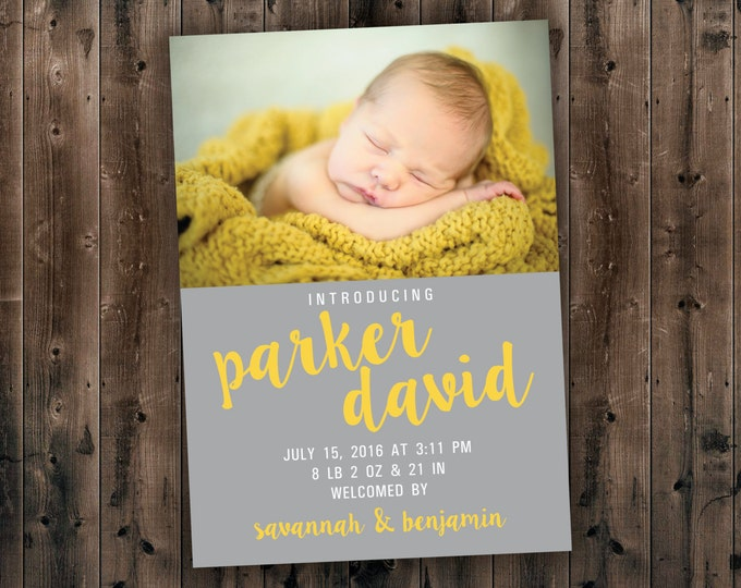 Affordable Baby Birth Announcement - Photo Baby Announcement, Newborn, Modern, Printed, Thank you cards, Baby Show, New Baby
