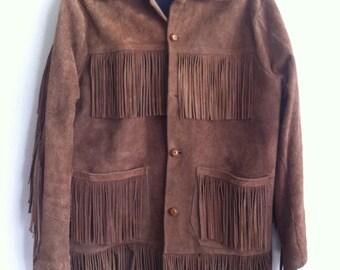 Brown suede vintage jacket, men size medium.