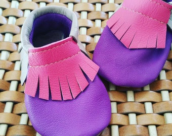 Baby Moccasins-handmade genuine leather Moccasins-Handmade-Genuine Leather moccs-Pink-Pink