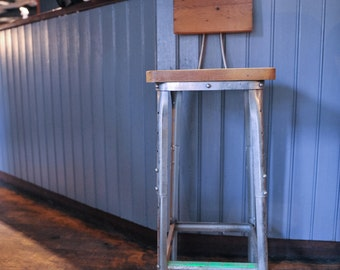 Vintage Industrial Wooden & Metal Bar/Cafe/Kitchen Stool (shipping not included)