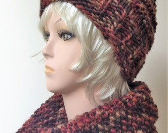 Winter Set: Beanie Cap and Scarf, Hand Knitted, Chunky Hat, Winter Scarf, Woolen Yarn, Warm Hat, Woolen Hat, Woolen Scarf, Autumn colors