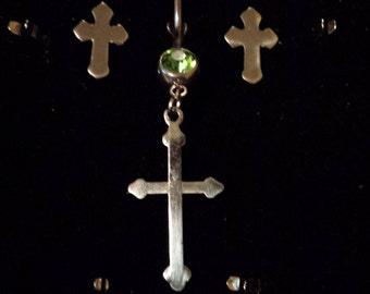 Cross belly ring w/matching earrings.