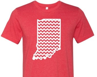 Indiana shirt, Indiana chevron shirt, Red Indiana shirt, Home shirt, Indiana outline, Plus size,  Made by Enid and Elle