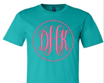 Monogrammed t-shirt,  personalized monogram, dot monogram, initials, bella canvas, made by Enid and Elle