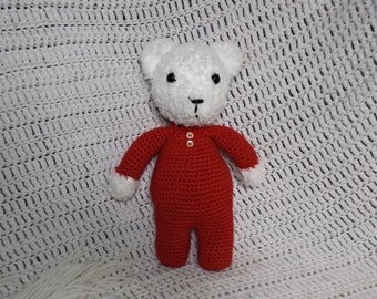 Polar Bear in Red Pajamas/Child's plushie/photography prop