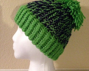 Children's Seahawks Lime Green Brim and Mixed Beanie