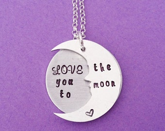 love you to the moon, love you to the moon necklace, love you necklace, to the moon necklace, moon necklace, to the moon and back, moon