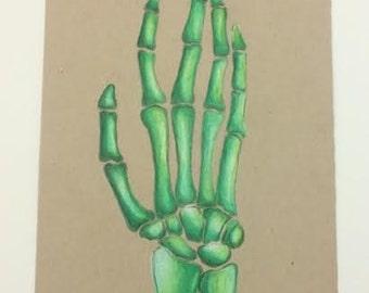Green Prismacolor Skeleton Hand