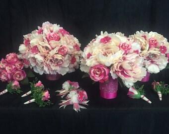SALE: Pink and Cream Peony Wedding Bouquet Set
