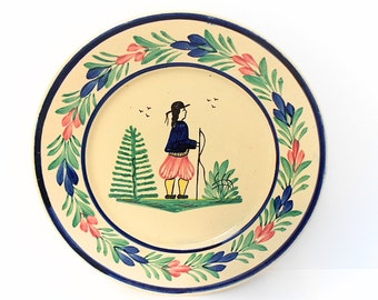 HB Quimper Pottery French Vintage Hand Painted Petit Breton Plate (1406 325 2)