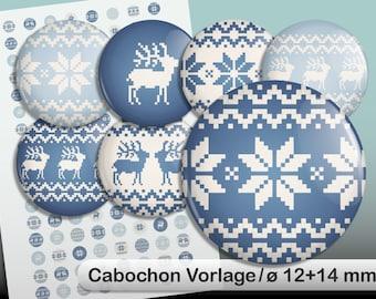 Digital Collage Sheet Norwegian ø12 and 14 mm blue