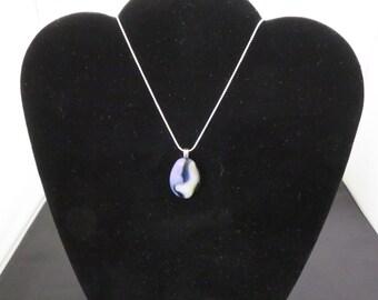 Blue Toned Fused Glass Pendant (010915-0003)